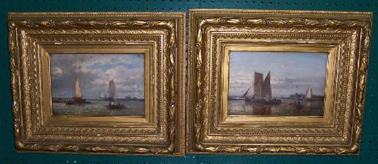 These oil on canvas paintings of sailing ships are signed Abraham Hulk Sr. (Dutch/English, 1817-1897). Each one measures 21 1/2 inches by 17 1/2 inches. The pair has a $10,000-15,000 estimate. Image courtesy of Bobby Langston Antiques.