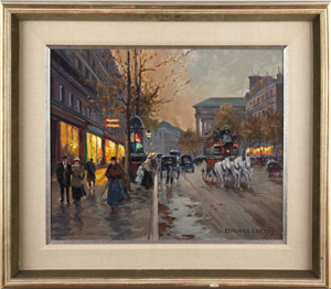Original oil on canvas Paris street scene by renowned French artist Edouard Cortes ($34,500). Image courtesy of Leland Little Auction & Estate Sales.