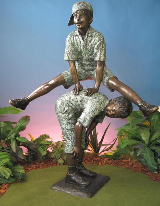 Two Boys Playing Leapfrog Pescara Sculpture Bronze  Est $5,500-$6,900 Photo courtesy Universal Live