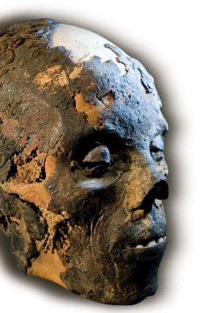 From the Mummies of the World exhibit, the head of an Egyptian mummy from the Archives of Merck KGaA, Darmstadt, Germany.