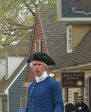 Public speaker re-enacts an event leading up to the American Revolutionary War. Taken in Colonial Williamsburg, Va., outside the Raleigh Tavern.