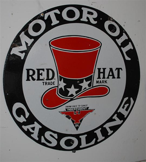 Red Hat Motor Oil double-sided porcelain sign, 32 inches, rated 8 and 7.5, great color and gloss. Image courtesy Matthews Auctions.