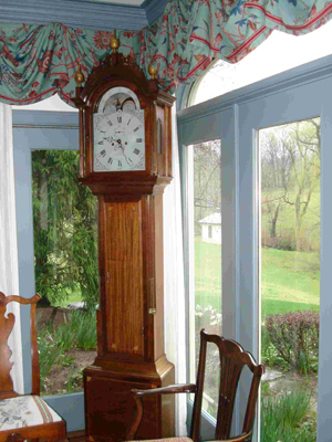 The top lot of the sale was this beautifully crafted tall case clock by Simon Willard, $57,500. Image courtesy Gordon S. Converse.v