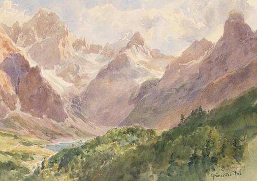 Grünersee-Tal in der Hohen Tatra, 72,2x36,4 cm Wasserfarbe, 1900 gemalt von  Edward Theodore Compton erzielte 4.636 Euro bei Ketterer Kunst's Old and New Masters Auction im April. Foto mit freundlicher Genehmigung von Ketterer Kunst.