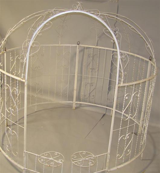 Large white painted metal gazebo, 87 x 90 inches, estimate $450-$650. Image courtesy The Potomack Company.