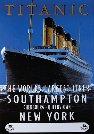 Reproduction of Titanic ad, auctioned by Guernsey's on March 15, 2008. Image courtesy LiveAuctioneers.com Archive and Guernsey's.
