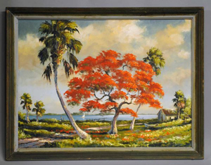Harold Newton (1934-1994), considered the original Florida Highwayman, painted 'Royal Poinciana Along the Indian River' on Upson Board. The 24-inch by 32-inch work has a $3,000-$5,000 estimate. Image courtesy of Auction Gallery of the Palm Beaches.