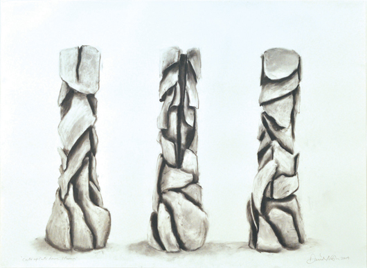 This framed charcoal drawing on paper by David Nash (British, b. 1945-) titled Cuts Up Cuts Down Column is expected to make $5,000 to $7,000.  Image courtesy Clars Auction Gallery.