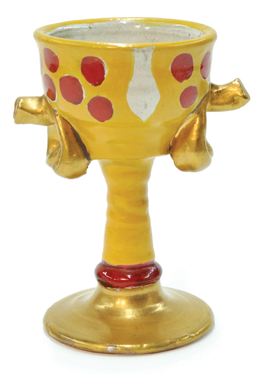 Designed by Viola Frey, this brightly colored ceramic loving cup is estimated to sell for $2,000 to $4,000. Image courtesy Clars Auction Gallery.
