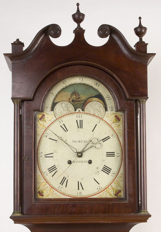 Signed Jacob Eby mahogany and cherry tall-case clock, Pennsylvania, $10,925. Image courtesy of Jeffrey S. Evans & Associates.