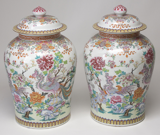 Pair of large French Chinese-style palace urns, $13,800. Image courtesy of Jeffrey S. Evans & Associates.