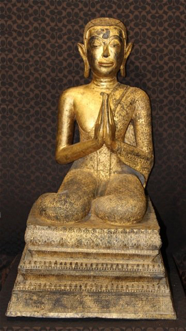 One of a pair of gilt bronze seated monks, provenance: Oscar Hammerstein II and Dorothy Hammerstein, estimate $30,000-$150,000 the pair. Image courtesy of LiveAuctioneers.com and J. Sugarman Auction Corp.