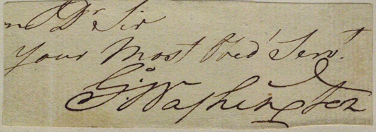 Clipped from the conclusion of a handwritten letter, this George Washington signature has a $3,500-$5,000 estimate. It is mounted on a 4 1/2-inch by 3-inch card. Image courtesy of The Written Word Autographs.
