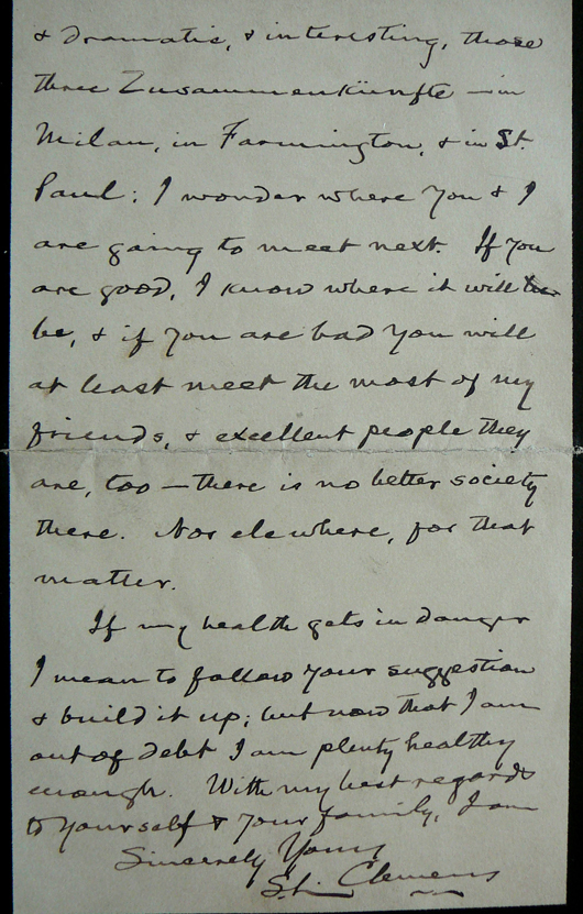 Samuel Clemens' letter to Ray Lamprey, a young woman friend, briefly refers to the author's reversal of fortune in the national crisis of 1893. The two-page handwritten letter has a $5,000-$9,000 estimate. Image courtesy of The Written Word Autographs.