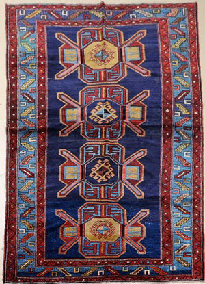 Antique Chaberd Kazak Caucasian wool rug, 5ft. 3in. by 9ft. 3in., est. $4,000-$4,500, image courtesy of LiveAuctioneers.com and Gray's Auctioneers.