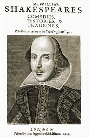 The title page of the 1623 First Folio of William Shakespeare's plays.