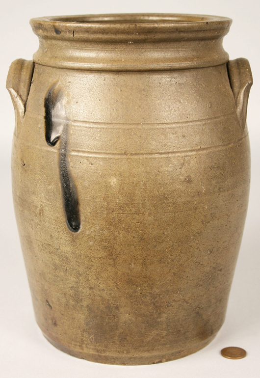 A Tennessee stoneware jar by William Grindstaff brought $1,702 at Case's auction in May. Image courtesy Case Auctions, Knoxville, Tenn.