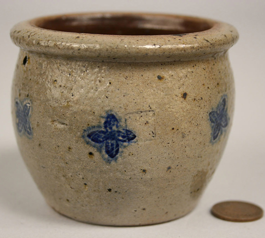 A charming miniature stoneware jar decorated with cobalt cloverleafs was found near the Kentucky-Tennessee border. It sold recently for $850. Image courtesy Case Auctions, Knoxville, Tenn.