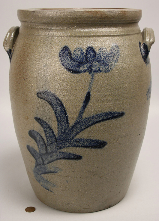 Charles Decker worked in Pennsylvania and Virginia before opening his Keystone Pottery in Washington County, Tenn. Attributed to Decker, this stoneware 4-gallon jar with cobalt tulip design sold in May for $2,610. Image courtesy Case Auctions, Knoxville, Tenn.