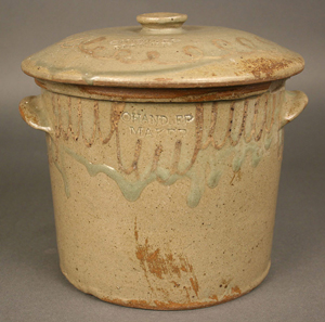 A stoneware jar with lid, stamped with the name of South Carolina potter Thomas Chandler Edgefield, sold in January for $18,160. Image courtesy Case Auctions, Knoxville, Tenn.