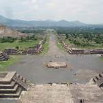 Archaeologists have found a tunnel under Teotihuacan that may eventually reveal some of the ancient Mexican city's secrets. This view is of the Avenue of the Dead and Pyramid of the Sun from atop the Pyramid of the Moon. Image courtesy of Wikimedia Commons.