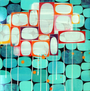 Rex Ray's Untitled 3043, mixed media resin on panel (16 x 16 inches), valued at $1,950, is one of 160 donated works to be offered in September at the 2010 Art for AIDS auction. Image courtesy UCSF AIDS Health Project