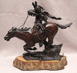 An original bronze of an Indian warrior on horseback is inscribed 'C. Kauba' (American/Austrian, 1865-1922). Mounted on a marble base, the bronze is expected to sell for $4,000-$6,000. Image courtesy of Bill Hood & Sons Arts & Antiques Auction.