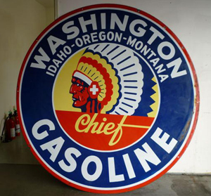 The top lot of the sale was this Washington Chief Gasoline double-sided porcelain sign, which sold for $20,900. Image courtesy of Matthews Auctions LLC.