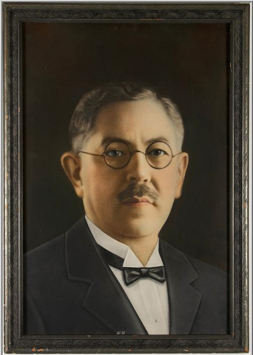 Max Factor, famous for developing makeup for the movie industry, is pictured in an original self-portrait. The 23-inch by 33-inch framed portrait has a $1,500-$3,000 estimate. Image courtesy of Super Auctions.