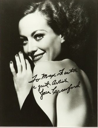 """Hollywood legend Joan Crawford inscribed this 8-inch by 10-inch negative, """"To Max Factor a Great Artist."""" The image has a $250-$700 estimate. Image courtesy of Super Auctions."""