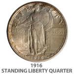 1916 Standing Liberty quarter, estimate $12,000-$20,000. Image courtesy Dan Morphy Auctions.