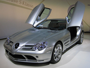 Mercedes-Benz SLR McLaren similar to the one donated to charity. Photo taken in Brussels in 2006.