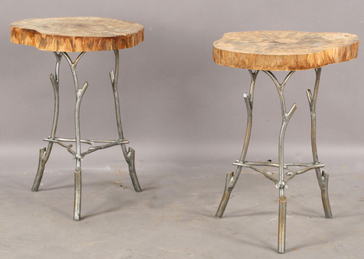 Perfect end tables for summer use, each has a natural log top and aluminum twig-style base – price only $240. Image courtesy of Kamelot Auctions.