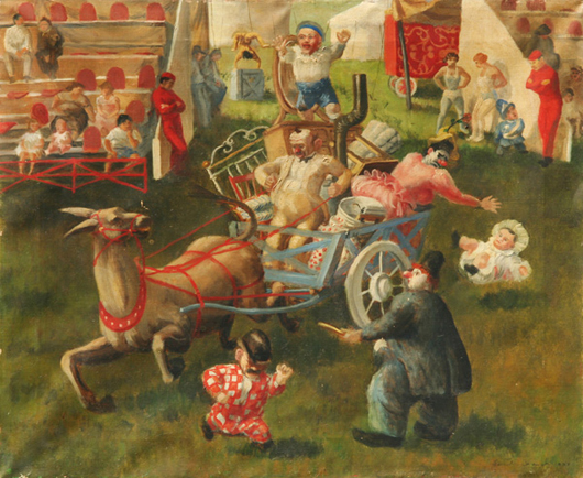 Lucille Blanch, 'Runaway Clowns,' 1935, oil on canvas, 18 inches by 22 inches.