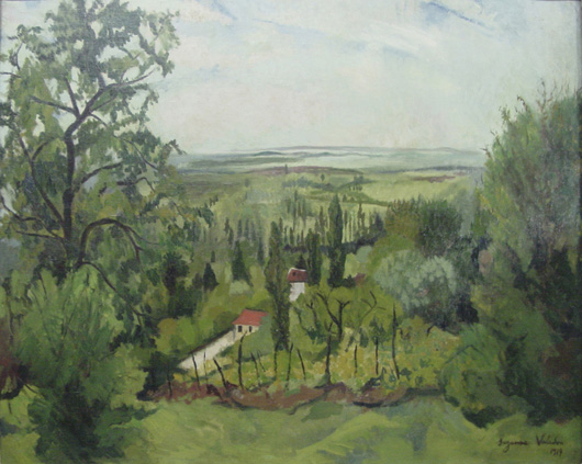 Suzanne Valadon, Paysage Ain, oil on canvas, 1917, 32 by 26 inches, est. $20,000-$30,000. John W. Coker Auctions image.