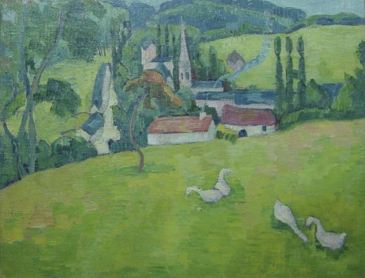 Emile Bernard, Pont Aven, oil on canvas, 24 by 18 inches, est. $30,000-$50,000, John W. Coker Auctions image.