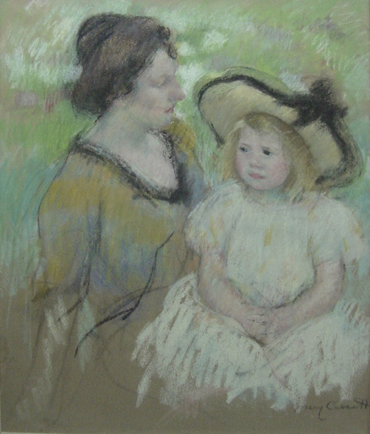 Mary Cassatt, Simone Talking to Her Mother, pastel on paper, 25½ by 30½ inches, est. $400,000-$700,000. John W. Coker Auctions image.