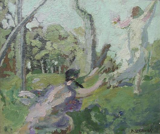 Ker-Xavier Roussel, Nymphette Satyr, oil on canvas, 12 x 9 7/8 inches, est. $40,000-$70,000. John W. Coker Auctions image.