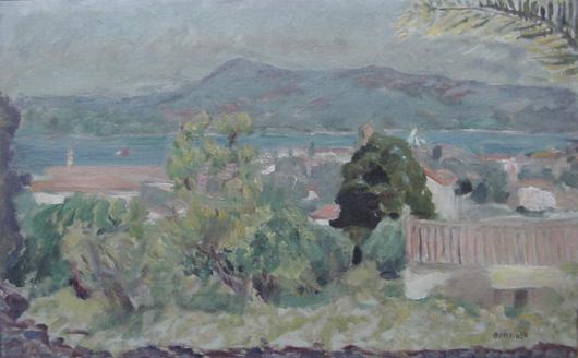 Pierre Bonnard, Landscape St.-Tropez, oil on canvas, 1925, 20½ by 12½ inches, est. $40,000-$70,000. John W. Coker Auctions image.