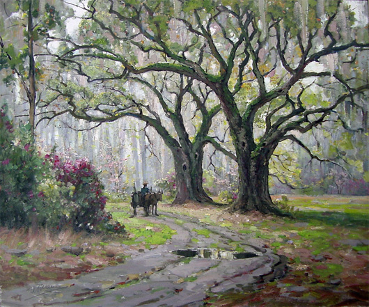 Anthony Thieme, Entrance to Magnolia Gardens in Spring, Charleston, S.C., oil on canvas, 36 by 30 inches, est. $30,000-$40,000. John W. Coker Auctions image.