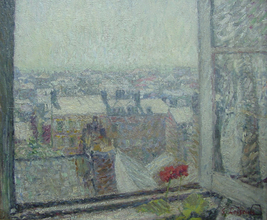 Gustave Loiseau, Roof Top View from Artist's Studio, oil on canvas, 25 by 21 inches, est. $40,000-$60,000. John W. Coker Auctions image.
