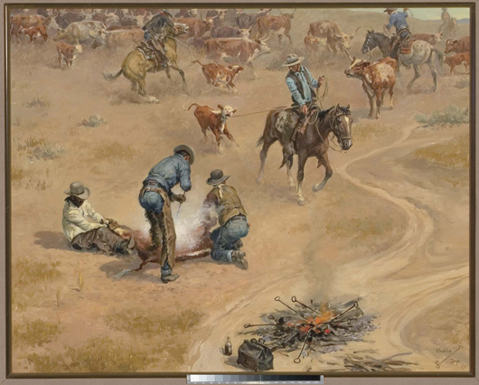 Charlie Dye, 'Calf Branding Time.' Image courtesy of Dallas Fine Art Auction.