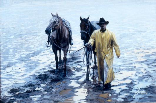 Gordon Snidow, 'Heading for the Barn.' Image courtesy of Dallas Fine Art Auction.