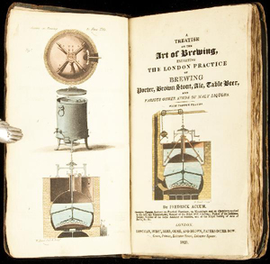 Frederick Accum's 'Treatise on the Art of Brewing … ' has a hand-colored copper engraved frontispiece and illustrated title page. The first edition was published in London in 1820. It has a $1,500-$2,000 estimate. Image courtesy of PBA Galleries.