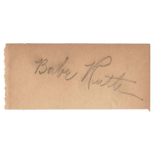 Babe Ruth, darkly penciled signature, circa 1939. Image courtesy of Signature House.