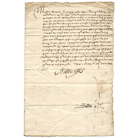 Francis II, King of France, document urging speedy justice and accord in Metz. Image courtesy of Signature House.