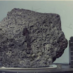 """This lunar rock from the Apollo 17 mission, known as Sample 70017 or the """"Goodwill Rock,"""" was cut up into hundreds of pieces and distributed to all 50 states and more than 130 nations. Colorado's tiny piece of the rock ended up on a plaque hanging on the wall of the state's ex-Governor. It is now moving to the Colorado School of Mines. NASA Photo."""