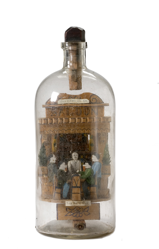 'Find the Missing Man' diorama in a bottle, sold for $1,725 at Cowan's in March 2008. Image courtesy Cowan's Auctions Inc.