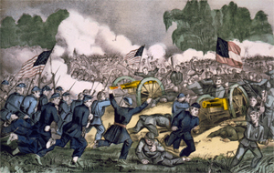 Currier & Ives lithograph of The Battle of Gettysburg, fought July 1-3, 1863. Library of Congress image.