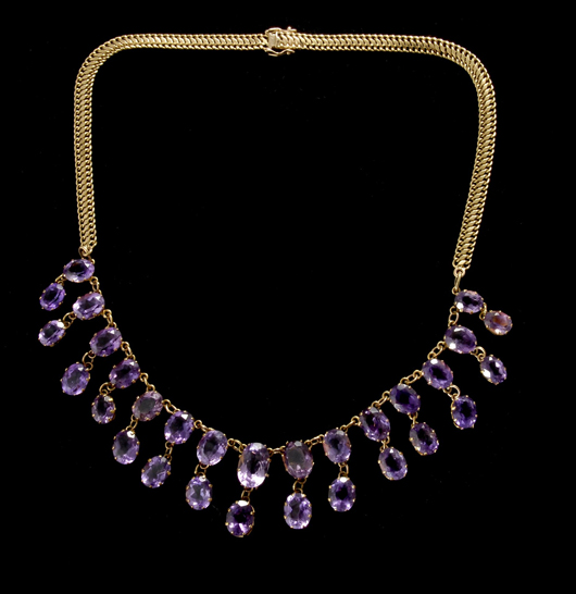 Amethyst, 14K yellow gold necklace. Estimate: $375-$500. Image courtesy of Michaan's Auctions.